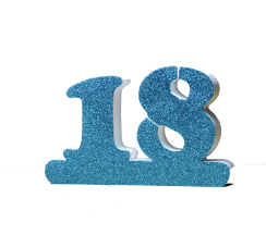 Number 18 for 18th Birthday Blue