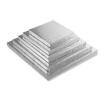 Silver Square Cake Boards of 0,4 inches