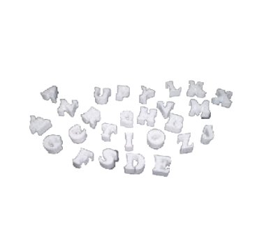 Polystyrene letters in variety of sizes