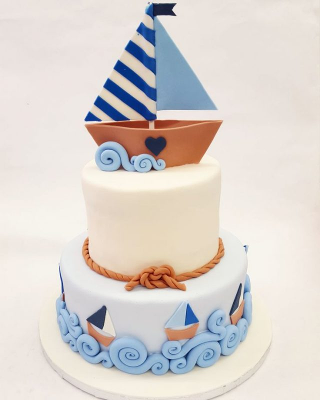 Polystyrene Sailboat to decorate birthday cake